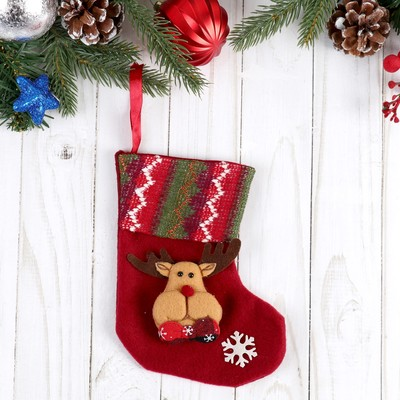 """Носок для подарков """"Праздничный уют"""" 12*15,5 см олень"""