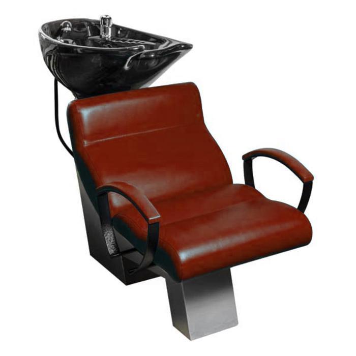 Мойка парикмахерская Эволюция, каркас чёрный с глубокой раковиной, цвет коричневый