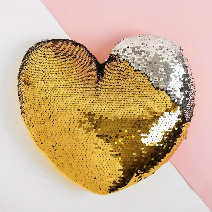 Мягкая игрушка Сердце, пайетки, цвет серебряно-золотой