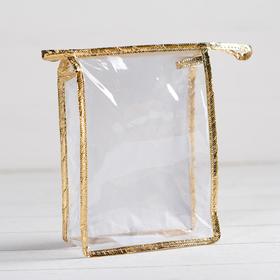 Косметичка ПВХ, отдел на молнии, цвет золото/прозрачный Ош