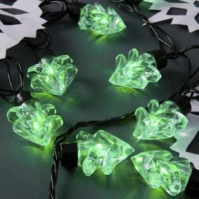 Гирлянда 'Нить' улично-комнатная с насадками 'Ель большая', 5м, LED(IP44)-40-220V, 8 режимов, нить тёмная, свечение зелёное Ош