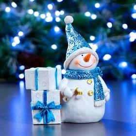 """Фигура подсвечник """"Снеговик"""" синий 11.5х6х14см"""