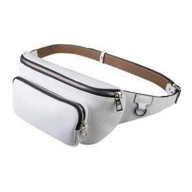 Поясная сумка, 2 отдела на молнии, регулируемый ремень, цвет белый