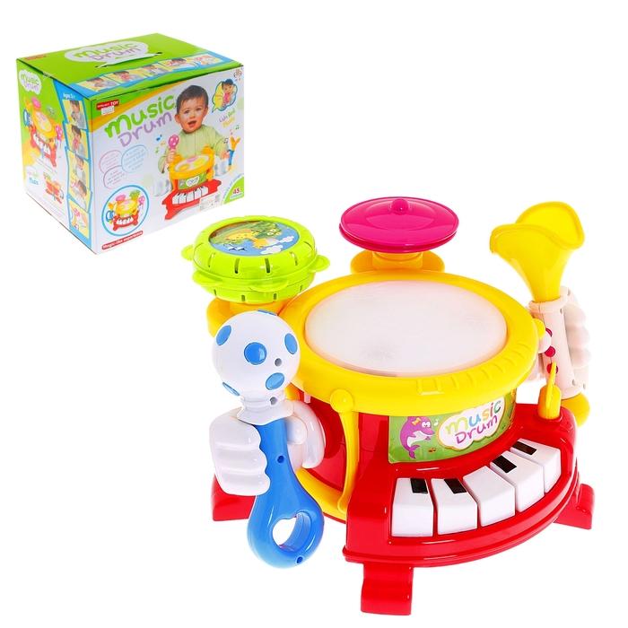 Музыкальная установка: (4 в 1): барабан, пианино, маракас, дудка, световые, звуковые эффекты, работает от батареек
