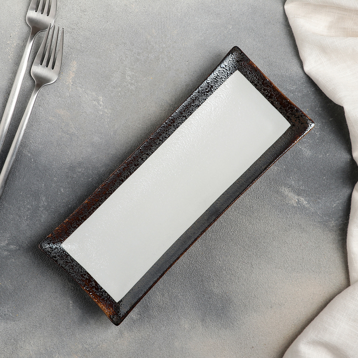 Блюдо «Браун», 26,5×10,5×2,5 см, цвет белый