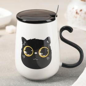 Кружка «Чёрный кот», 480 мл, с керамической крышкой и ложкой, рисунок МИКС