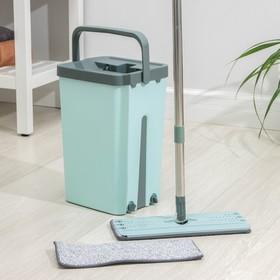Набор для уборки: ведро с отсеками для полоскания и отжима 14 л, швабра плоская, доп. насадка Ош