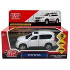 Машина металлическая Toyota Prado, открывающиеся двери, инерционная, цвет белый, 12 см