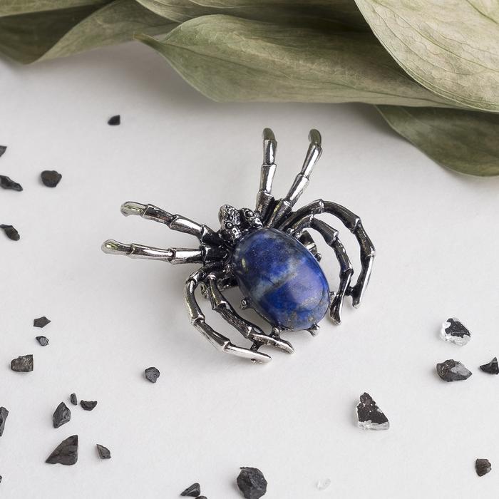 """Брошь-подвеска паук малый """"Лазурит"""""""