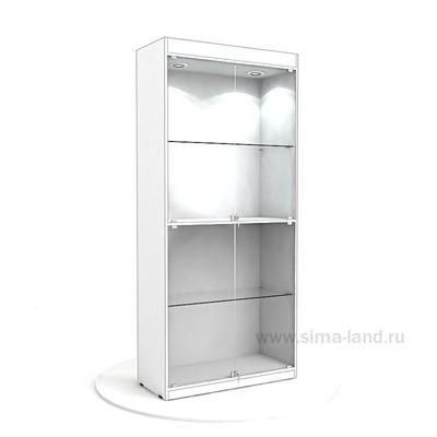 Витрина из ЛДСП 2000х900х400, цвет белый, 2 стеклянные полки, стенка ХДФ