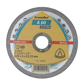 Круг отрезной по металлу KLINGSPOR 262937, d=125х22.2 мм, 12200 об/мин, толщина 1 мм