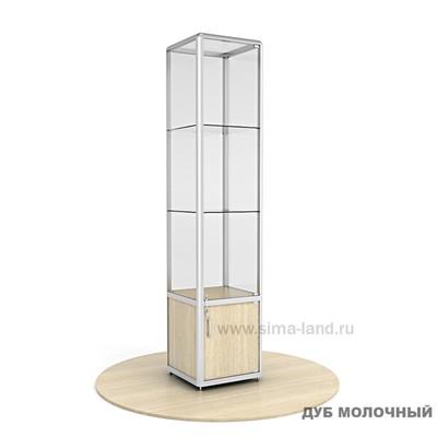 Витрина из профиля, без подсветки, стекло, 2000х400х500, цвет дуб молочный