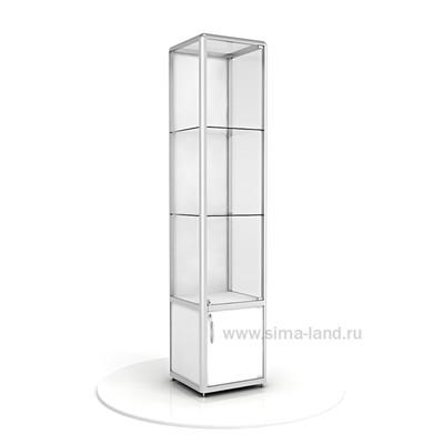 Витрина из профиля, без подсветки, ХДФ, 2000х400х500, цвет белый
