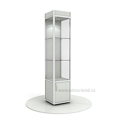 Витрина из профиля, подсветка, ХДФ, 2000х400х500, цвет серый