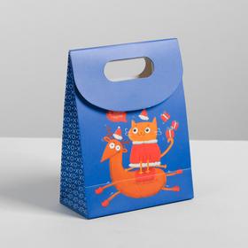 Пакет с клапаном «Веселого праздника», 12 х16 х6 см. Ош