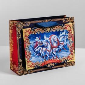 Пакет подарочный горизонтальный «С Новым Годом!», 23 х 18 х 8 см Ош