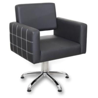 Кресло парикмахерское Брайтон Декор, цвет чёрный, строчка белая, 66х62