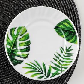 Тарелка пирожковая Доляна «Лист папоротника», d=15 см, цвет белый