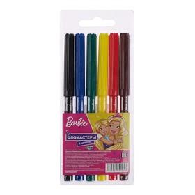 Фломастеры 6 цветов «Барби», на водной основе, вентилируемый колпачок, морозостойкие