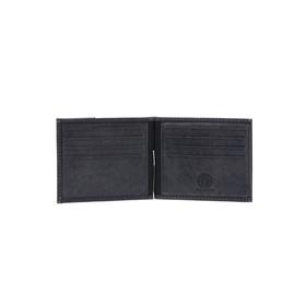 Бумажник KLONDIKE Yukon, с зажимом для денег, натуральная кожа в чёрном цвете, 12×1,5×9 см
