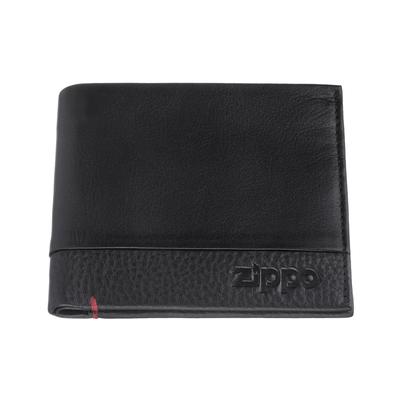 Портмоне ZIPPO с защитой от сканирования RFID, чёрное, натуральная кожа, 10,5×1,5×9 см