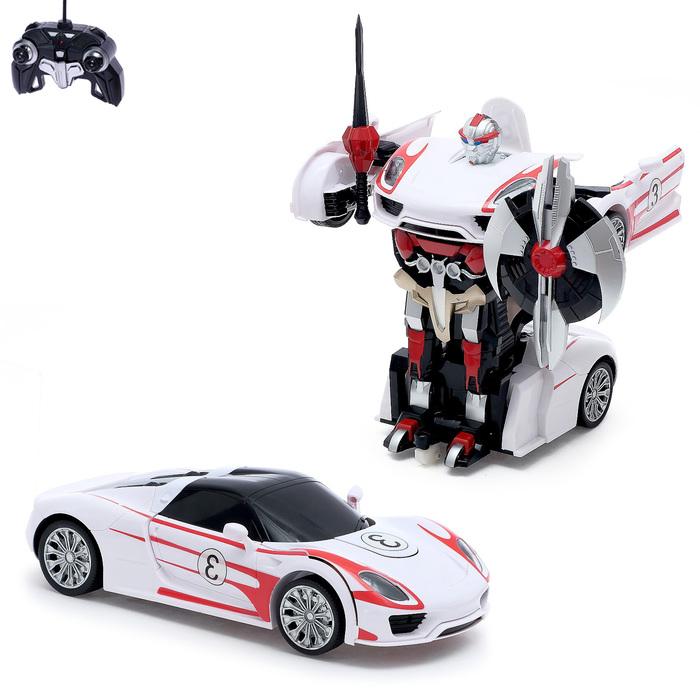 """Робот-трансформер радиоуправляемый """"Автобот"""", с аккумулятором, цвет белый, масштаб 1:14"""