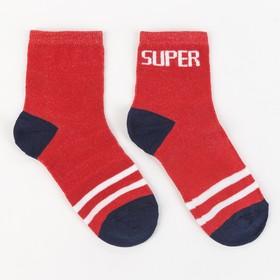 """Носки детские, """"Super"""" цвет красный, р-р 16-18"""