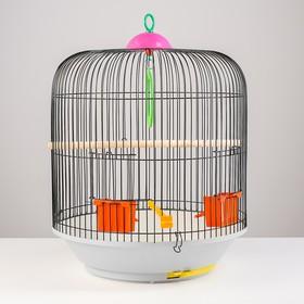 Клетка для птиц круглая, двухъярусная сварная, большой поддон, 39 x 44 см, микс цветов Ош