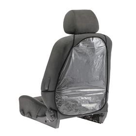 Накидка-незапинайка на спинку сиденья 58х42 см, черная окантовка, прозрачная Ош
