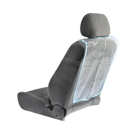 Накидка-незапинайка на спинку сиденья 58×42 см, синяя окантовка, прозрачная Ош