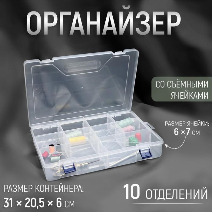 Контейнер для рукоделия, со съёмными ячейками, 10 отделений, 31 × 20,5 × 6 см, цвет прозрачный