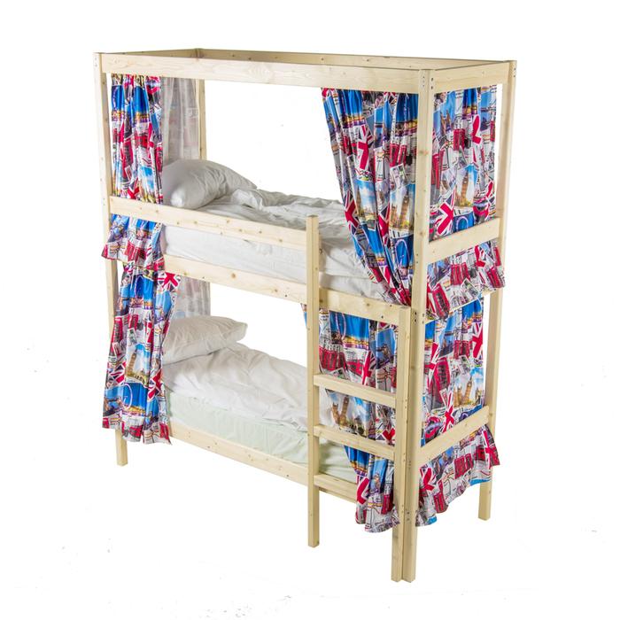 Двухъярусная кровать c каркасом для штор, 70 × 190 см, цвет сосна