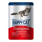 Влажный корм Happy Cat для кошек, говядина/баранина в соусе, 100 г
