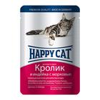 Влажный корм Happy Cat для кошек, кролик/индейка/морковь в соусе, 100 г