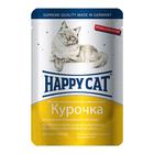Влажный корм Happy Cat для кошек, ломтики в соусе, курица, 100 г