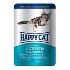 Влажный корм Happy Cat для кошек, кусочки в желе, лосось/креветки, 100 г