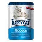 Влажный корм Happy Cat для кошек, ломтики в соусе, лосось, 100 г