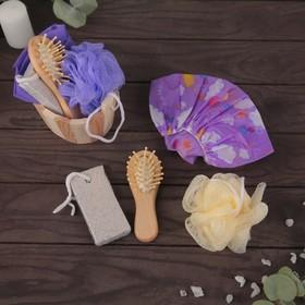 Набор банный, 4 предмета: мочалка, расчёска, шапочка для душа, пемза Ош