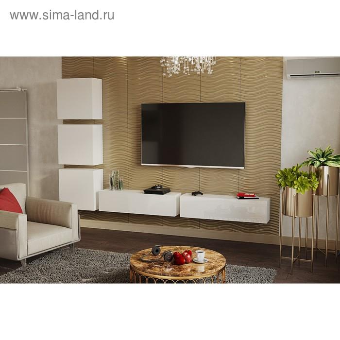 Гостиная Линда подвесная, Белый ЛДСП/Белое стекло