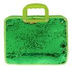 Папка для тетрадей формат А4, с ручками, Пайетки двуцветные  зелено-золотые