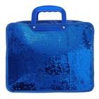 Папка для тетрадей формат А4, на молнии, с ручками, Пайетки двуцветные-синий/серебро