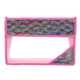 Папка для тетрадей формат А4, на липучке, пайетки двуцветные разноцветный/серебристый Ош