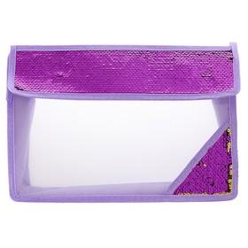 Папка для тетрадей формат А4, на липучке, Пайетки двуцветные-фиолетовый/золотистый Ош