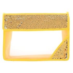 Папка для тетрадей формат А4, на липучке, Пайетки двуцветные золотисто-серебристые Ош