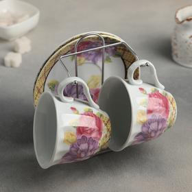 """Сервиз чайный """"Цветы"""" 4 предмета: чашка 250 мл, блюдце 14 см, на подставке"""