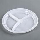Тарелка 3-х секционная, d=20,5 см,100 шт/уп, цвет белый