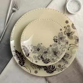 Сервиз столовый «Бисерное кружево», 7 предметов: 6 тарелок d=20 см, 1 тарелка d=30 см