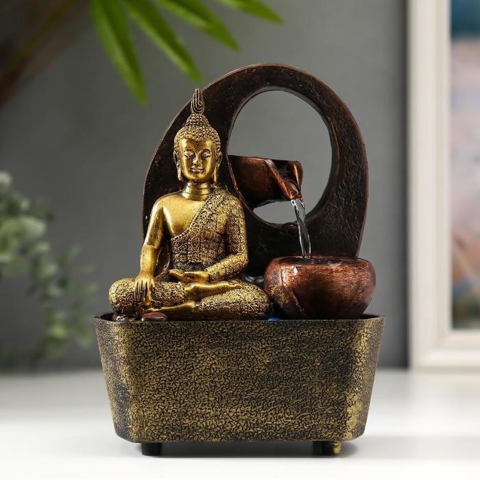 Фонтан настольный от сети, подсветка Медитация Будды у водопада 20х16х13 см