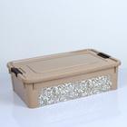 Контейнер для хранения с крышкой Smart Box, 14 л, 49×32×14 см, с декором Home, цвет кремовый