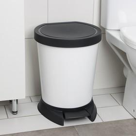 Ведро для мусора с педалью, 18 л, цвет белый